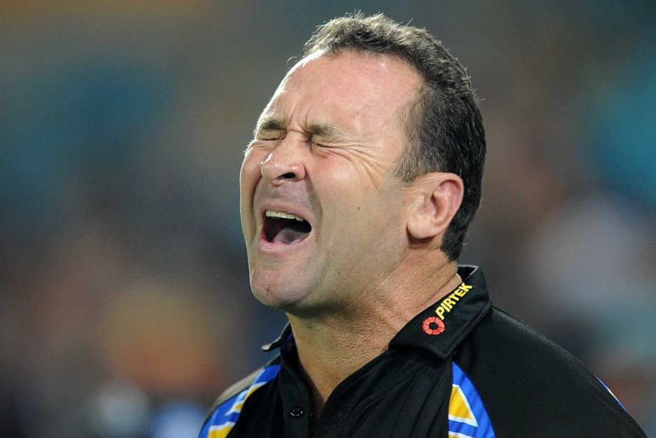 Ricky Stuart reacts in anguish as coach of the Parramatta Eels